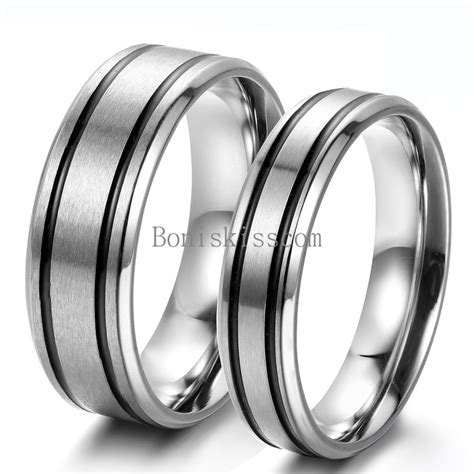 mens womens couples stainless steel ring black stripes