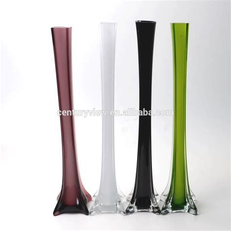 Colored Eiffel Tower ttall square colored eiffel tower glass vase wholesale