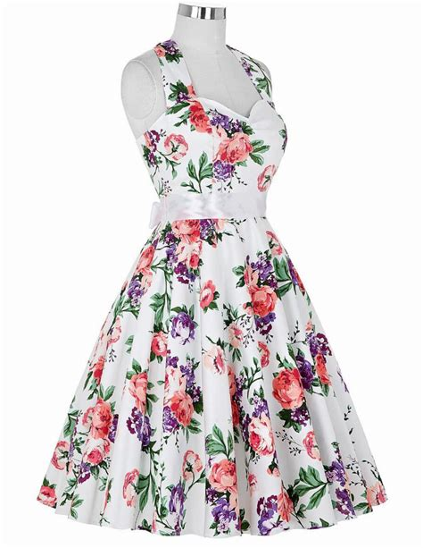 vintage mode swing real picture 50s rockabilly dresses floral print retro