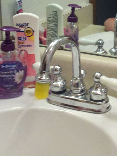 Faucet Extenders by Cap From A Lotion Bottle As Faucet Extender Since The