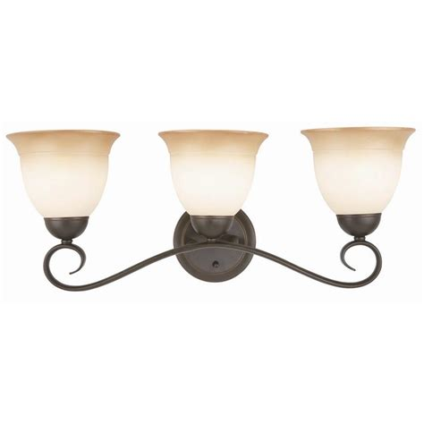 Bathroom Lighting Fixtures Home Depot Design House Cameron 3 Light Rubbed Bronze Bath Light Fixture 512665 The Home Depot