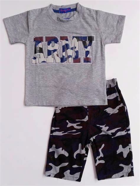 Kaos Anak Mr Umur 3 5 Tahun Size 2 jual baju setelan anak cowok laki kaos abu celana army loreng 1115 di lapak vera