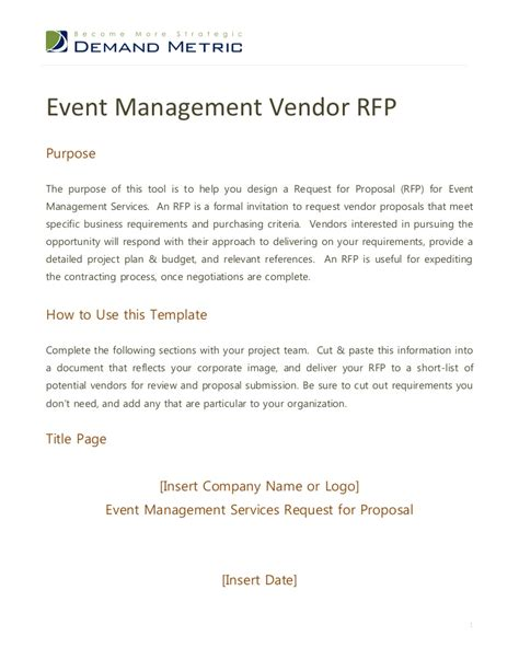 Event Management Rfp Template Rfp Outline Template