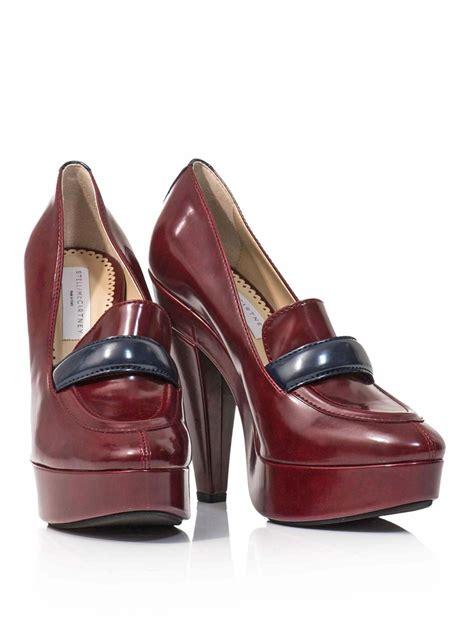 loafers high heel stella mccartney high heel loafers in purple lyst