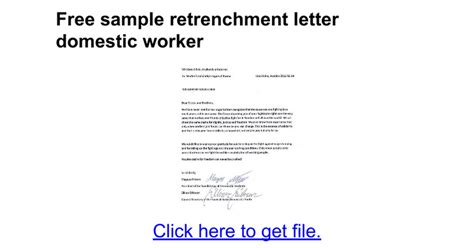 retrenchment letter template termination of employment letter domestic worker south