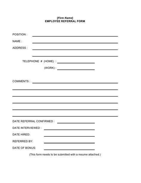 referral template employee referral form