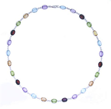 multi gemstone and 9ct white gold necklace connard