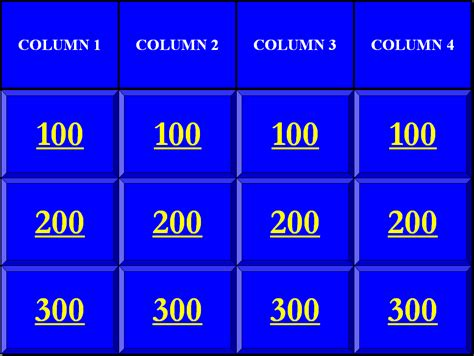 Jeopardy Templates Jeopardy Template For Teachers