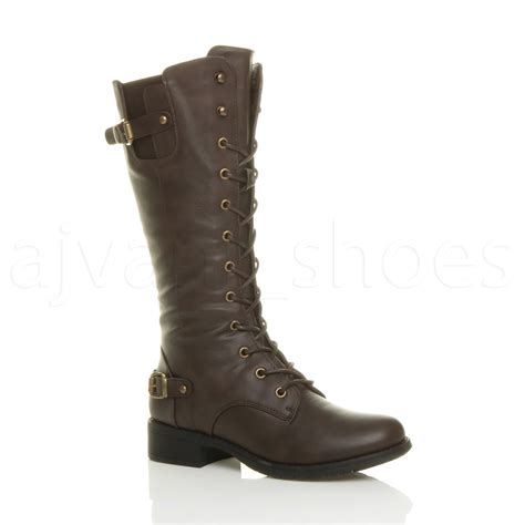women s lace up biker boots womens ladies low heel lace up zip biker army combat