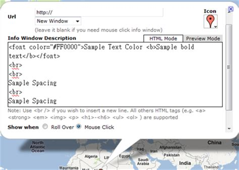font color html code user guide of gmap editor map maker