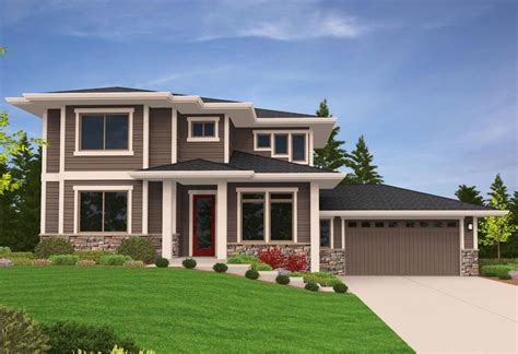 design home restart prairie modern house plan for side sloping lot 85079ms
