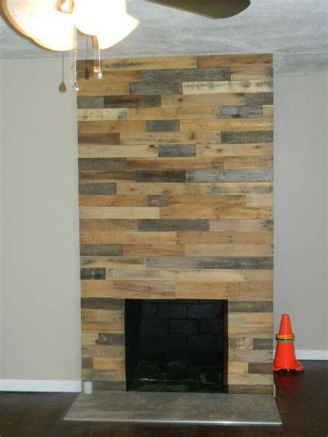 pallet wood fireplace wall  pallets