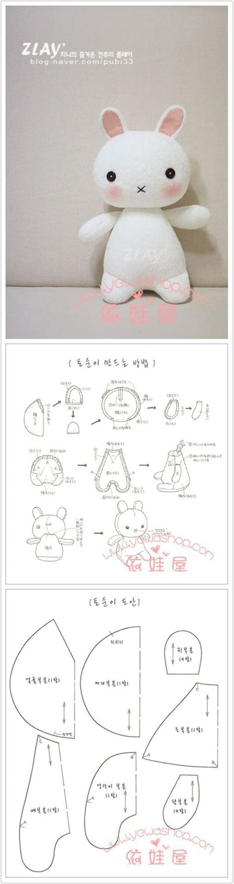 diy cute felt doll free sewing pattern and step by step how to sew cute stuff bunny step by step diy tutorial