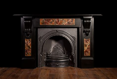 Slate Panels For Fireplace by A Large Black Slate Fireplace With Coloured