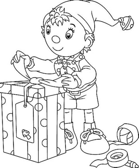 coloring page elf with present christmas elves who got the big box coloring page
