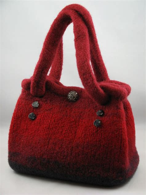 Handmade Knitted - handmade knitted felt bag c crafts things i need to do