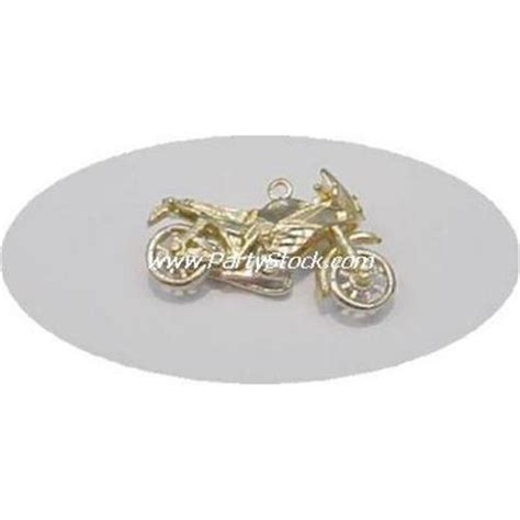 solid 14k gold motorcycle pendant charm harley davidson