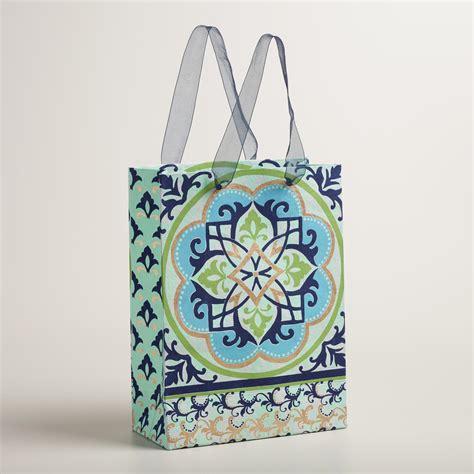 Handmade Gift Bag - large blue and green medallion handmade gift bag world