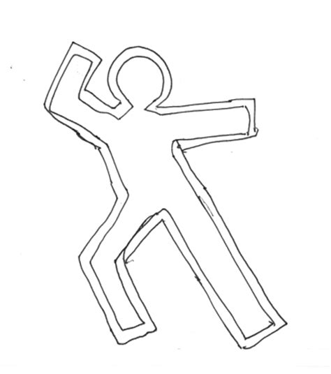 cookie cutter chalk outline dead body sketch coloring page
