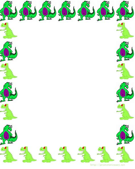 lined paper with dinosaur border free dinosaurs border stationery paper free printable