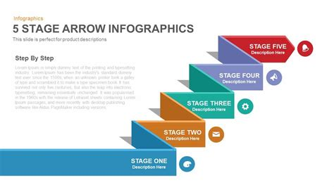 Data Table Design by 5 Stage Arrow Infographics Powerpoint Keynote Template