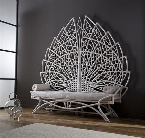 Grand acanthus rattan bench looks like throne in ancient times   Vuing.com