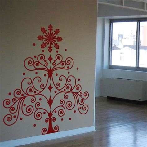 swirly christmas tree wall decal sticker graphic