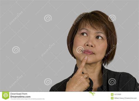 japanese middle age women asian woman thinking stock photo image 13727820