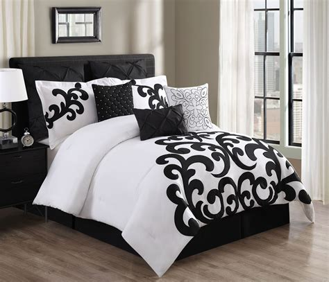 piece empress  cotton blackwhite comforter set