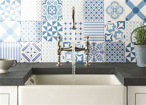 french blue and white ceramic tile backsplash top 15 patchwork tile backsplash designs for kitchen