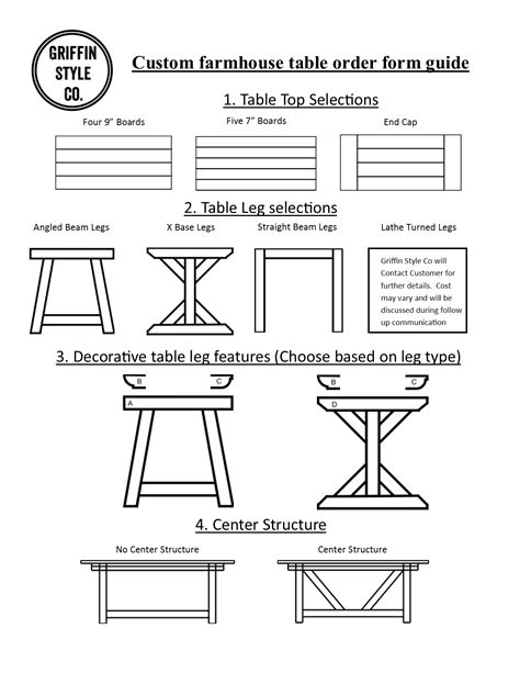 Farm House Design farmhouse table order forms griffin style co