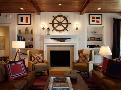 nautical living room nautical living room with ship wheel above fireplace and