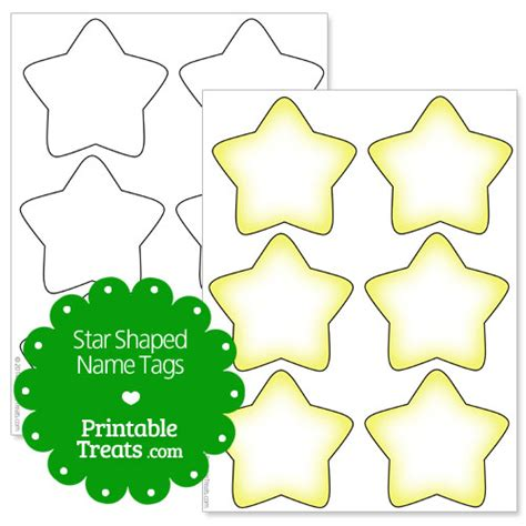 Printable Star Tags | printable star shaped name tags printable treats com