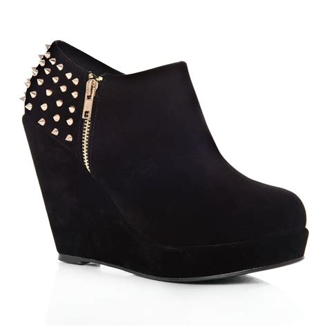 high heel boots wedges platform wedge high heeled ankle shoe boots with studs