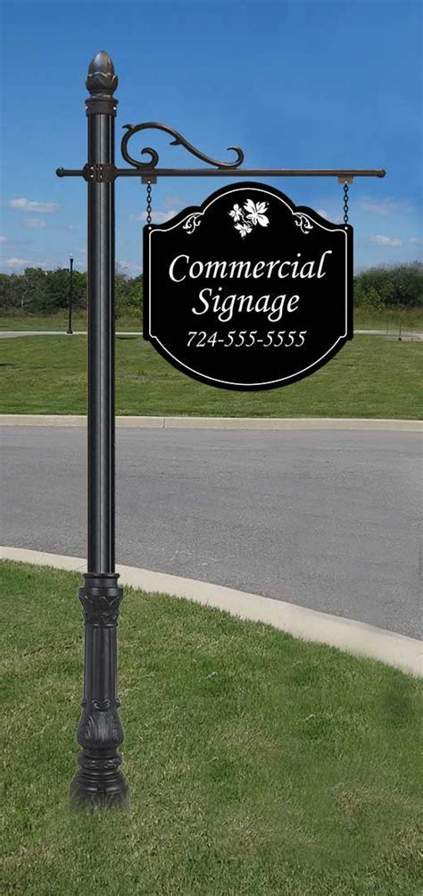 Large Commercial Hanging Sign and 8' Post