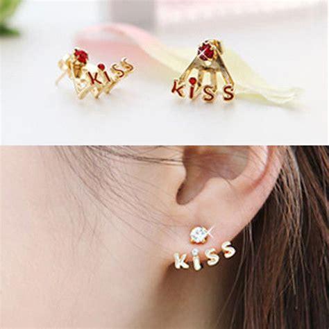 Ojjulet Fashion Stud Ojjulet Fashion korean style new fashion letters rhinestone stud earrings 4 color ebay
