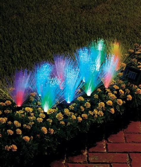 10 Pc Solar Light Stake Set Fiber Optic Multi Colored Fibre Optic Solar Lighting