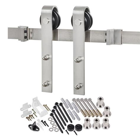 Sliding Door Hardware Barn Shop 78 75 In Stainless Steel Steel Top Mount Sliding Barn Door Kit At Lowes