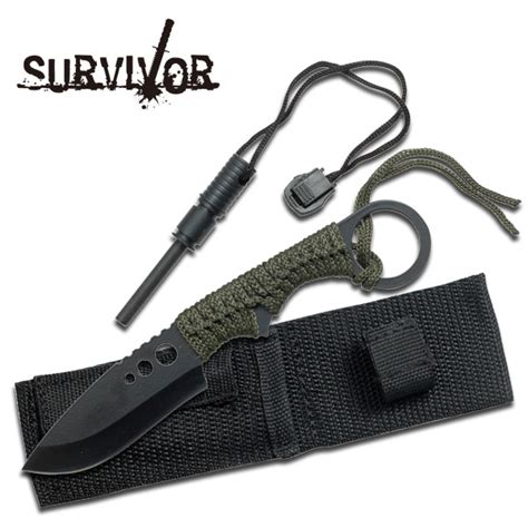 survival knife with firestarter 7 quot overall length survival knife with starter