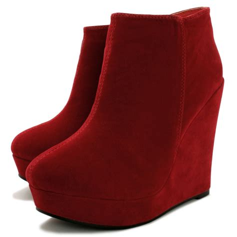 lyla wedge heel platform ankle boots suede style