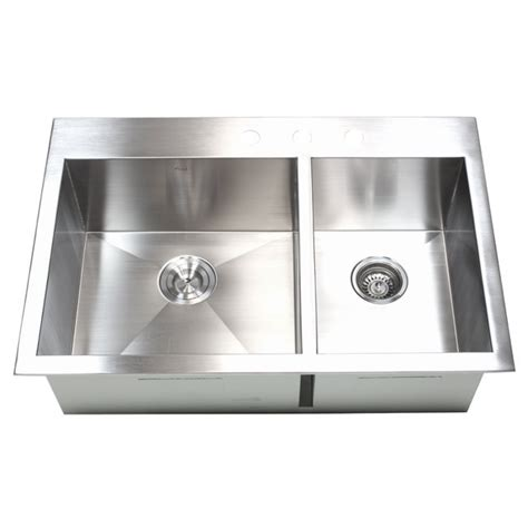 33 Inch Top Mount Drop In Stainless Steel 60 40 Double 40 Inch Kitchen Sink
