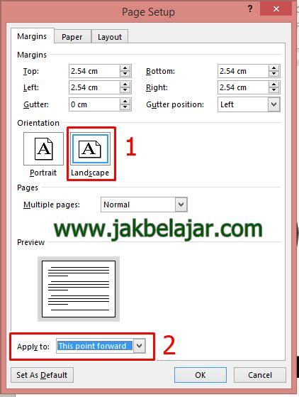 cara membuat satu halaman landscape di word 2010 cara membuat orientasi halaman berbeda dalam satu file