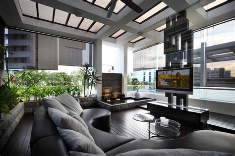 livingroom club modern leather lounge entertainment are bordered by living water garden interior design ideas