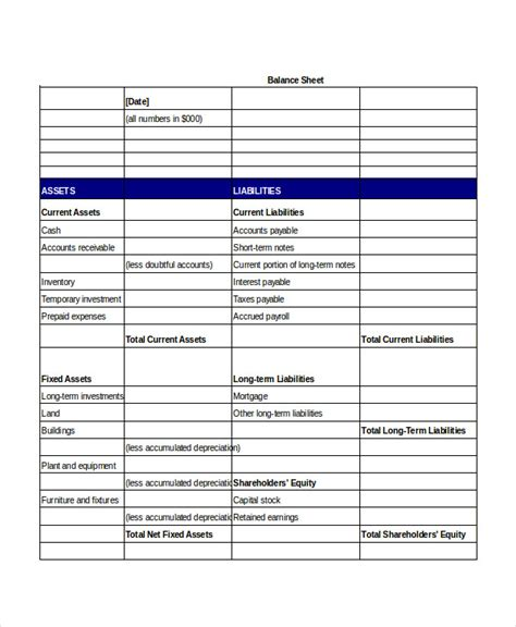 Business Balance Sheet Template by Simple Balance Sheet 20 Free Word Excel Pdf Documents