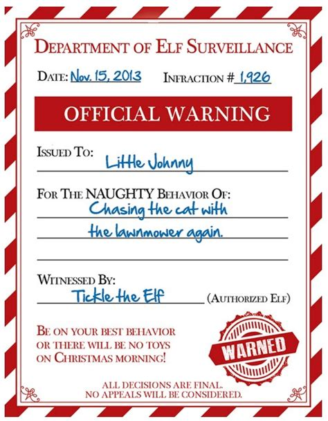 printable elf sick note free elf warning for naughty kids
