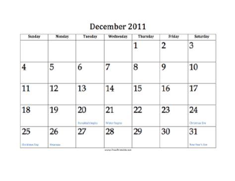 December 2011 Calendar Printable December 2011 Calendar