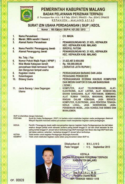 Contoh Surat Izin Di Perusahaan by Contoh Siup Dan Cara Mengurus Surat Izin Usaha Perdagangan