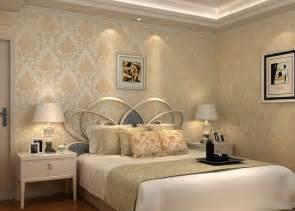 minimalist bedroom with high grade wallpaper 3d