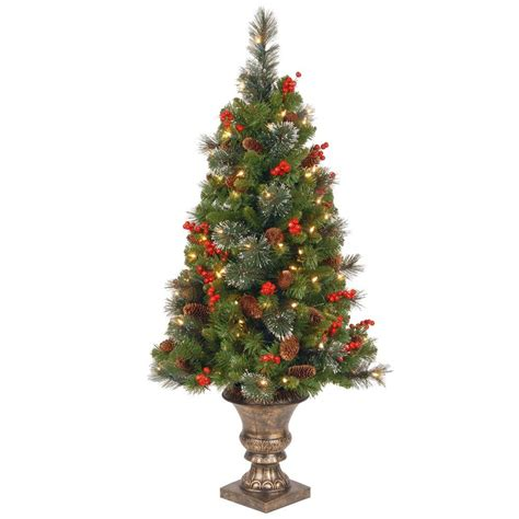 tree in lighted pot national tree company 4 ft crestwood spruce potted artificial tree with 100 clear