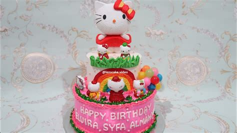 membuat kue hello kitty how to make birthday cake hello kitty 2 layers cara